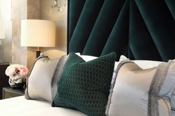 Platinum bed set from EPOC Handcrafted Beds shown here with a chevron-style bespoke headboard