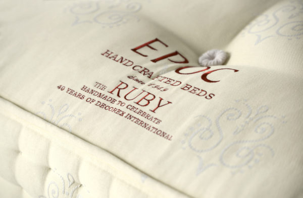 Ruby mattress from EPOC Handcrafted Beds with a bespoke, embroidered panel