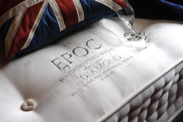 Diamond mattress from EPOC Handcrafted Beds featuring bespoke embroidered panel and hand side stitching